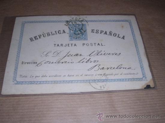 ENTERO POSTAL REPUBLICA ESPAÑOLA BARCELONA ---- 1875 ----- VER FOTO PERDIDA DE PAPEL EN UNA PUNTA (Sellos - España - Dependencias Postales - Entero Postales)