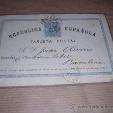Sellos: ENTERO POSTAL REPUBLICA ESPAÑOLA BARCELONA ---- 1875 ----- VER FOTO PERDIDA DE PAPEL EN UNA PUNTA . Lote 30177383