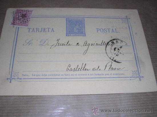 ENTERO POSTAL MADRID 1878 - JUNTA DE AGRICULTURA CASTELLON DE LA PLANA 14,5X10 CM. (Sellos - España - Dependencias Postales - Entero Postales)