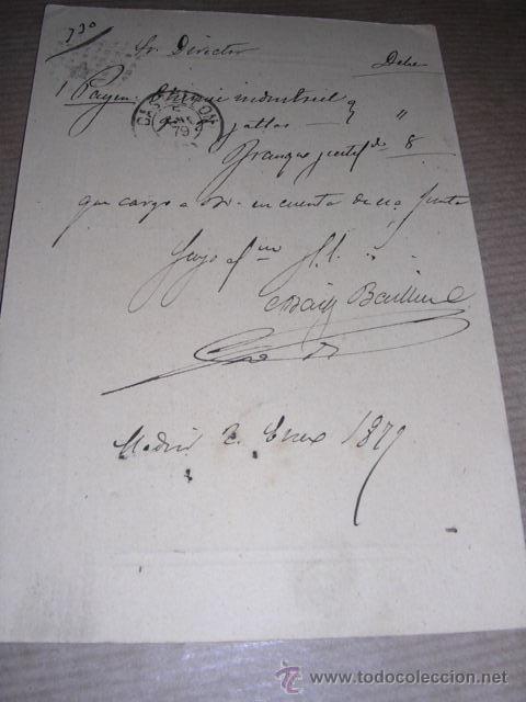 Sellos: ENTERO POSTAL MADRID 1878 - JUNTA DE AGRICULTURA CASTELLON DE LA PLANA 14,5X10 CM. - Foto 2 - 30177647