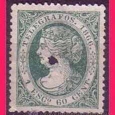 Sellos: TELÉGRAFOS 1866 ISABEL II, EDIFIL Nº 15 (O). Lote 32512862