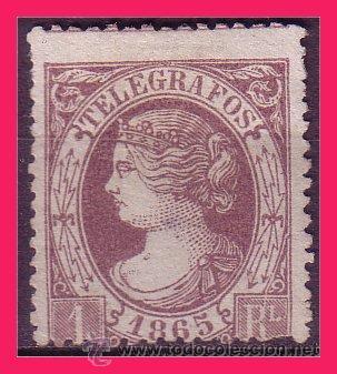 TELÉGRAFOS 1865 ISABEL II, EDIFIL Nº 9 (*) (Sellos - España - Dependencias Postales - Telégrafos)