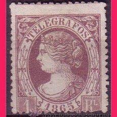 Sellos: TELÉGRAFOS 1865 ISABEL II, EDIFIL Nº 9 (*). Lote 32519279