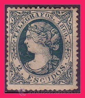 TELÉGRAFOS 1869 ISABEL II, EDIFIL Nº 29 * MARQUILLADO (Sellos - España - Dependencias Postales - Telégrafos)