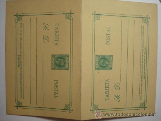 ESCASO FILIPINAS ESPAÑA DOBLE ENTERO POSTAL AÑO 1898 - 1 CENTAVO DE PESO ALFONSO XIII SIN CIRCULAR (Sellos - España - Dependencias Postales - Entero Postales)