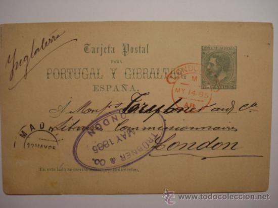 RARO ESPAÑA ENTERO POSTAL AÑO 1884 - 5 CENTIMOS ALFONSO XII - FECHADOR LONDRES Y MADRID (Sellos - España - Dependencias Postales - Entero Postales)