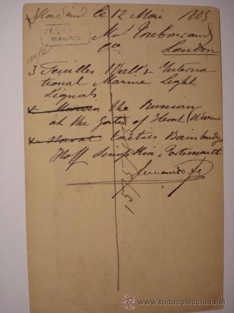 Sellos: RARO ESPAÑA ENTERO POSTAL AÑO 1884 - 5 CENTIMOS ALFONSO XII - FECHADOR LONDRES Y MADRID - Foto 4 - 33989616