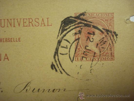 Sellos: ESPAÑA ENTERO POSTAL AÑO 1892 - 10 CENTIMOS ALFONSO XIII MADRID A PARIS ENSAYO - Foto 3 - 33989642