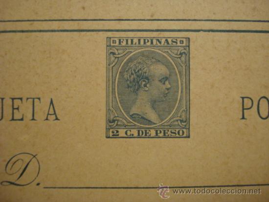 Sellos: RARO FILIPINAS ESPAÑA ENTERO POSTAL 2 CENTIMOS AZUL AÑO 1896 ALFONSO XIII SIN CIRCULAR - Foto 2 - 34032781