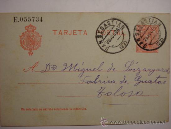 ESPAÑA ENTERO POSTAL 10 CENTIMOS AÑO 1904 ALFONSO XIII SAN SEBASTIAN A TOLOSA (Sellos - España - Dependencias Postales - Entero Postales)