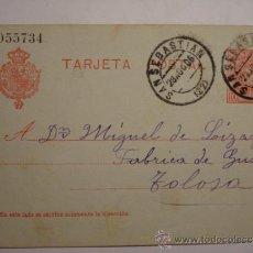 Sellos: ESPAÑA ENTERO POSTAL 10 CENTIMOS AÑO 1904 ALFONSO XIII SAN SEBASTIAN A TOLOSA. Lote 34059166