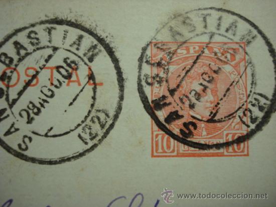 Sellos: ESPAÑA ENTERO POSTAL 10 CENTIMOS AÑO 1904 ALFONSO XIII SAN SEBASTIAN A TOLOSA - Foto 2 - 34059166