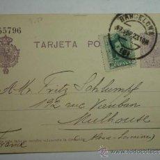 Sellos: ESPAÑA ENTERO POSTAL 15 CENTIMOS AÑO 1910 ALFONSO XIII BARCELONA A FRANCIA. Lote 34059173