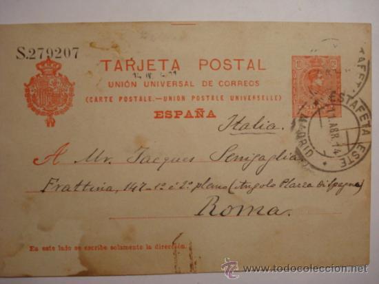 ESPAÑA ENTERO POSTAL 10 CENTIMOS AÑO 1910 ALFONSO XIII MADRID A ROMA (Sellos - España - Dependencias Postales - Entero Postales)