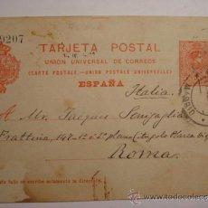 Sellos: ESPAÑA ENTERO POSTAL 10 CENTIMOS AÑO 1910 ALFONSO XIII MADRID A ROMA. Lote 34059178