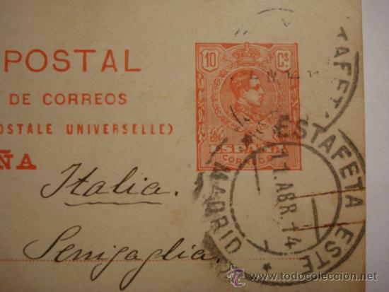 Sellos: ESPAÑA ENTERO POSTAL 10 CENTIMOS AÑO 1910 ALFONSO XIII MADRID A ROMA - Foto 2 - 34059178