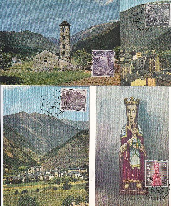 Sellos: ANDORRA ESPAÑOLA TIPOS DIVERSOS 1963-1964 (EDIFIL 60/67) EN OCHO TARJETAS MAXIMAS PRIMER DIA. MPM. - Foto 2 - 34842160