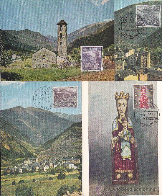 Sellos: ANDORRA ESPAÑOLA TIPOS DIVERSOS 1963-1964 (EDIFIL 60/67) EN OCHO TARJETAS MAXIMAS. RARAS ASI. MPM. - Foto 2 - 34939004