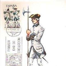 Sellos: TARJETA POSTAL MAXIMA EDIFIL 2236 1975 AÑO 1750 ESPAÑA GRANADERO DEL REGIMIENTO DE TOLEDO UNIFORMES . Lote 36468332