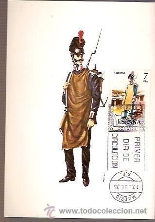 TARJETA POSTAL MAXIMA EDIFIL 2281 AÑO 1809 ESPAÑA ZAPADOR DEL REGIMIENTO REAL DE INGENIEROS 1975 (Sellos - España - Dependencias Postales - Tarjetas Máximas)