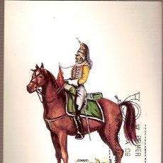 Sellos: TARJETA POSTAL MAXIMA EDIFIL 2350 UNIFORMES MILITARES AÑO 1815 ESPAÑA TROMPETA DE ALCANTARA LINEA 19. Lote 36468802