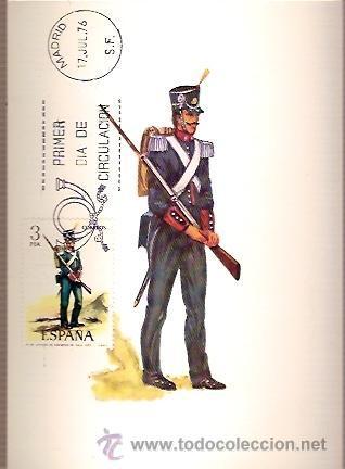 TARJETA POSTAL MAXIMA EDIFIL 2352 UNIFORMES MILITARES AÑO 1825 ESPAÑA ZAPADOR DE INGENIEROS DE GALA (Sellos - España - Dependencias Postales - Tarjetas Máximas)