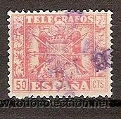 ESCUDO TELEGRAFOS 1940/48 USADO (Sellos - España - Dependencias Postales - Telégrafos)