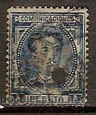 SELLO DE ESPAÑA TELEGRAFOS EDIFIL 180T AÑO 1876 TALADRADO (Sellos - España - Dependencias Postales - Telégrafos)