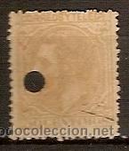 SELLO DE ESPAÑA TELEGRAFOS EDIFIL 206T AÑO 1879 TALADRADO (Sellos - España - Dependencias Postales - Telégrafos)