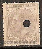 SELLO DE ESPAÑA TELEGRAFOS EDIFIL 208T AÑO 1879 TALADRADO (Sellos - España - Dependencias Postales - Telégrafos)