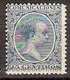SELLO DE ESPAÑA TELEGRAFOS EDIFIL 221T AÑO 1889 99 TALADRADO (Sellos - España - Dependencias Postales - Telégrafos)