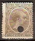 SELLO DE ESPAÑA TELEGRAFOS EDIFIL 222T AÑO 1889/99 TALADRADO (Sellos - España - Dependencias Postales - Telégrafos)