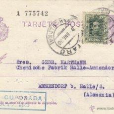 Sellos: ENTERO POSTAL Nº 57 NA ALFONSO XIII - VAQUER - CIRCULADA MATARO ( BARCELONA ) ALEMANIA. Lote 39620327