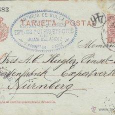 Selos: ENTERO POSTAL Nº 45 A ALFONSO XIII - CADETE - CIRCULADA CÁDIZ - NURNBERG ALEMANIA . Lote 39620503