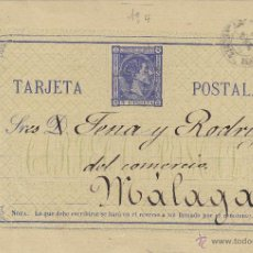Sellos: ENTERO POSTAL Nº 8 ALFONSO XII COMUNICACIONES CIRCULADO MALAGA. Lote 39620708