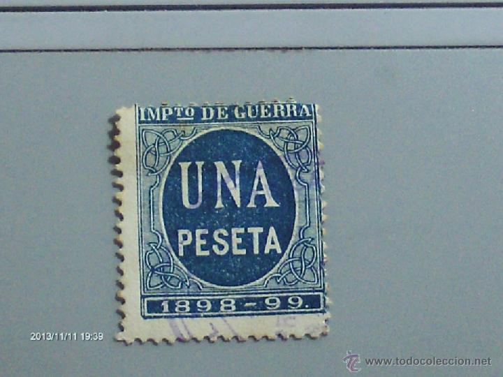 IMPUESTOS DE GUERRA UNA PESETA 1898-99 EN AZUL (Sellos - España - Dependencias Postales - Telégrafos)
