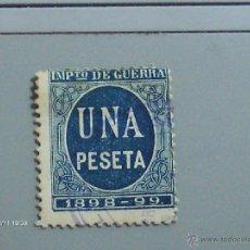 Sellos: IMPUESTOS DE GUERRA UNA PESETA 1898-99 EN AZUL. Lote 39976009
