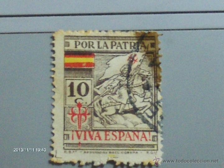 POR LA PATRIA VIVA ESPAÑA 10 C SANTIAGO (Sellos - España - Dependencias Postales - Telégrafos)