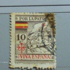Sellos: POR LA PATRIA VIVA ESPAÑA 10 C SANTIAGO. Lote 39976054