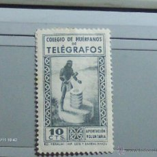 Sellos: COLEGIO HUERFANOS DE TELEGRAFOS 10 CTS APORTACION VOLUNTARIA SEIX BARRAL HNOS . Lote 39976264