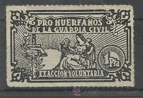 PRO HUERFANOS DE LA GUARDIA CIVIL 1 PTS EXACCION VOLUNTARIA (Sellos - España - Dependencias Postales - Beneficencia)