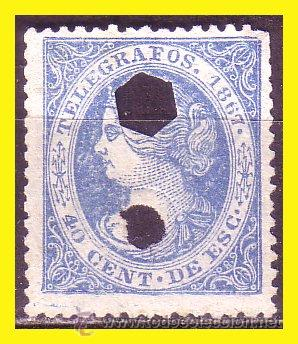 TELÉGRAFOS 1867 ISABEL II, EDIFIL Nº 18 (O) (Sellos - España - Dependencias Postales - Telégrafos)