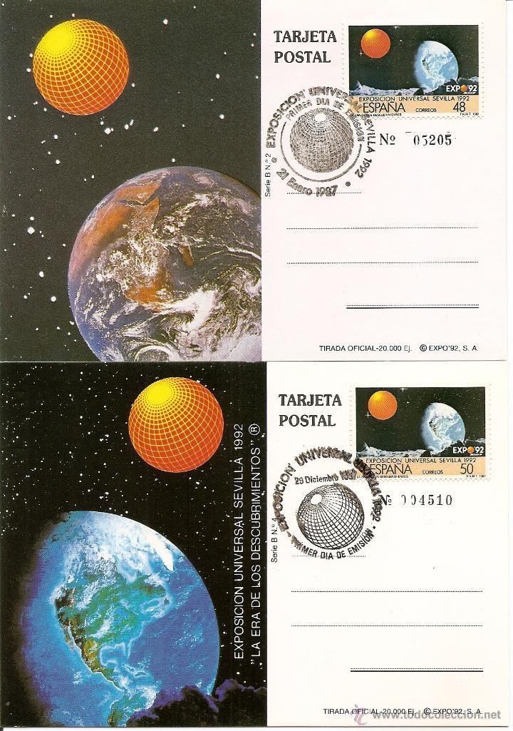 1987-ED. 2876 Y 2876A -TARJETAS MÁXIMAS-NUMERADA-EXPO SEVILLA' 92- MATASELLOS DISTINTOS 1ER. DIA D (Sellos - España - Dependencias Postales - Tarjetas Máximas)