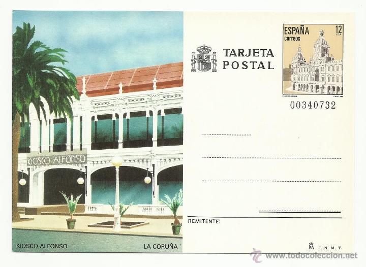 TARJETA ENTERO POSTAL 1985 EDIFIL 139 KIOSKO ALFONSO , LA CORUÑA (Sellos - España - Dependencias Postales - Entero Postales)