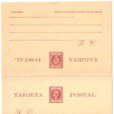 Sellos: ALFONSO XIII TIPO INFANTE LEYENDA PTO. RICO 1898 Y 99. 5 MILÉSIMA. ENTERO DOBLE IDA Y VUELTA. Lote 37477471