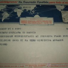 Sellos: TELEGRAMA 1954 VIA TRANSRADIO ESPAÑOLA. Lote 51171350