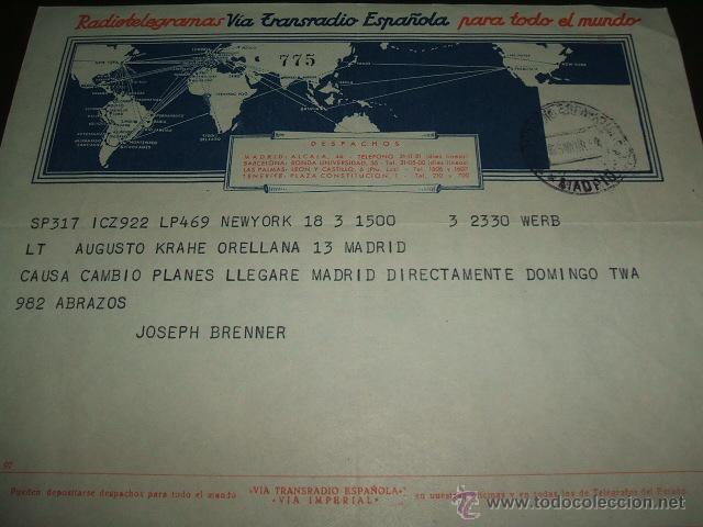 TELEGRAMA 1954 VIA TRANSRADIO ESPAÑOLA (Sellos - España - Dependencias Postales - Telégrafos)