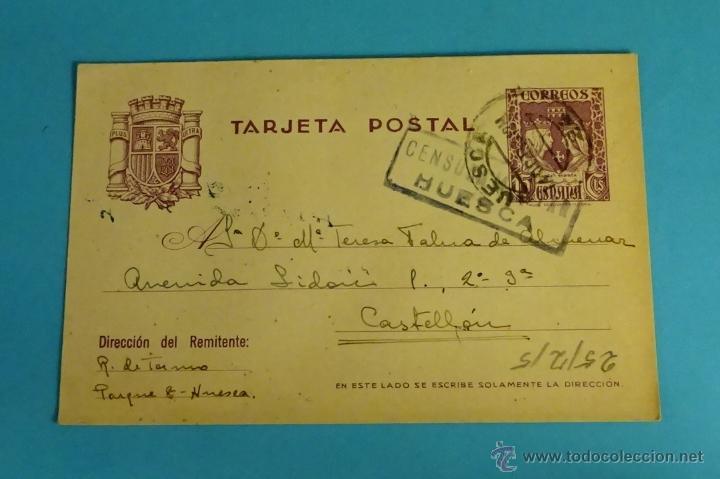 TARJETA POSTAL CON MATASELLOS Y CENSURA MILITAR DE HUESCA CIRCULADA A CASTELLÓN (Sellos - España - Dependencias Postales - Entero Postales)
