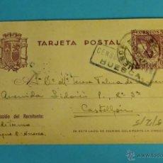 Sellos: TARJETA POSTAL CON MATASELLOS Y CENSURA MILITAR DE HUESCA CIRCULADA A CASTELLÓN. Lote 52139779