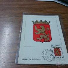 Sellos: TARJETA POSTAL ESCUDO ZARAGOZA PRIMIER DIA EMISION MADRID 1966 . ROJO56. Lote 52526207